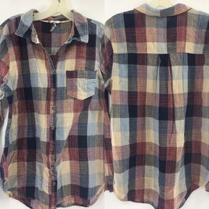 BKE Buckle Eased Woman's full button flannel XL